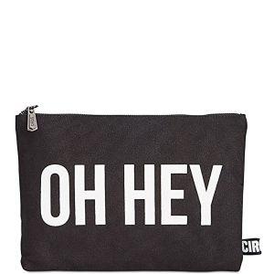Circus by Sam Edelman Zane OH Hey Canvas Graphic Clutch Handbag Black Affordable Designer Brands