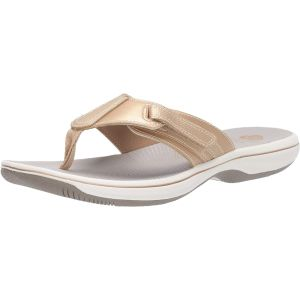 Clarks Collection Women's Brinkley Sail Manmade Flip-Flops Bright Yellow 9M from Affordable Designer Brands