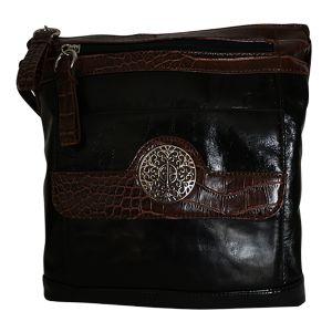 Giani Bernini Florentine Glazed Leather Filigree Vertical Black Crossbody front Affordable Designer Brands