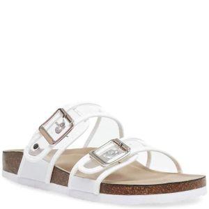 Madden Girl Womens Brando Slide Sandals Synthetic White 6M from Affordable Designer Brands