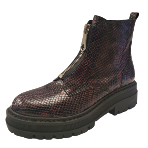 Marc Fisher Women Paralee2 Leather Bootie Dark Red Snake Skin Pattern 9.5M from Affordable Designer Brands