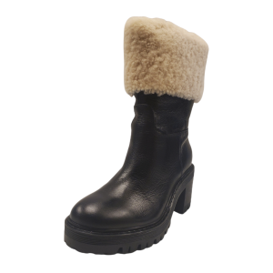 Marc Fisher Women Willoe Leather with Sheepskin Collar Boots Black Multicolor 6M from Affordable Designer Brands