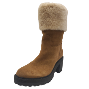 Marc Fisher Women Willoe Suede with Sheepskin Collar Boots Medium Natural 8M from Affordable Designer Brands