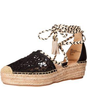 Nanette Lepore Women's  Bitsy Flatform Espadrilles Sandals Shoes Black 8M Affordable Designer Brands