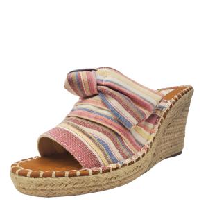 Sugar Womens Hundreds Wedge Sandals Fabric Natural Multicolor Beach Stripe 8.5M Affordable Designer Brands