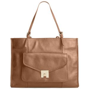 Tommy Hilfiger Postino Casual Leather Large Taupe Tote Front From Affordable Designer Brands